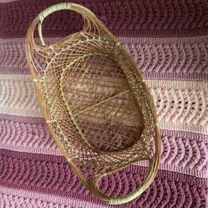 Wicker open woven boho basket with handles